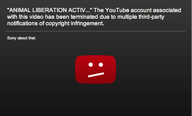 The present YouTube page for the Animal's Liberation Front  video posted above at the time.