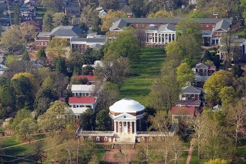 An aerial view of the University of Virginia