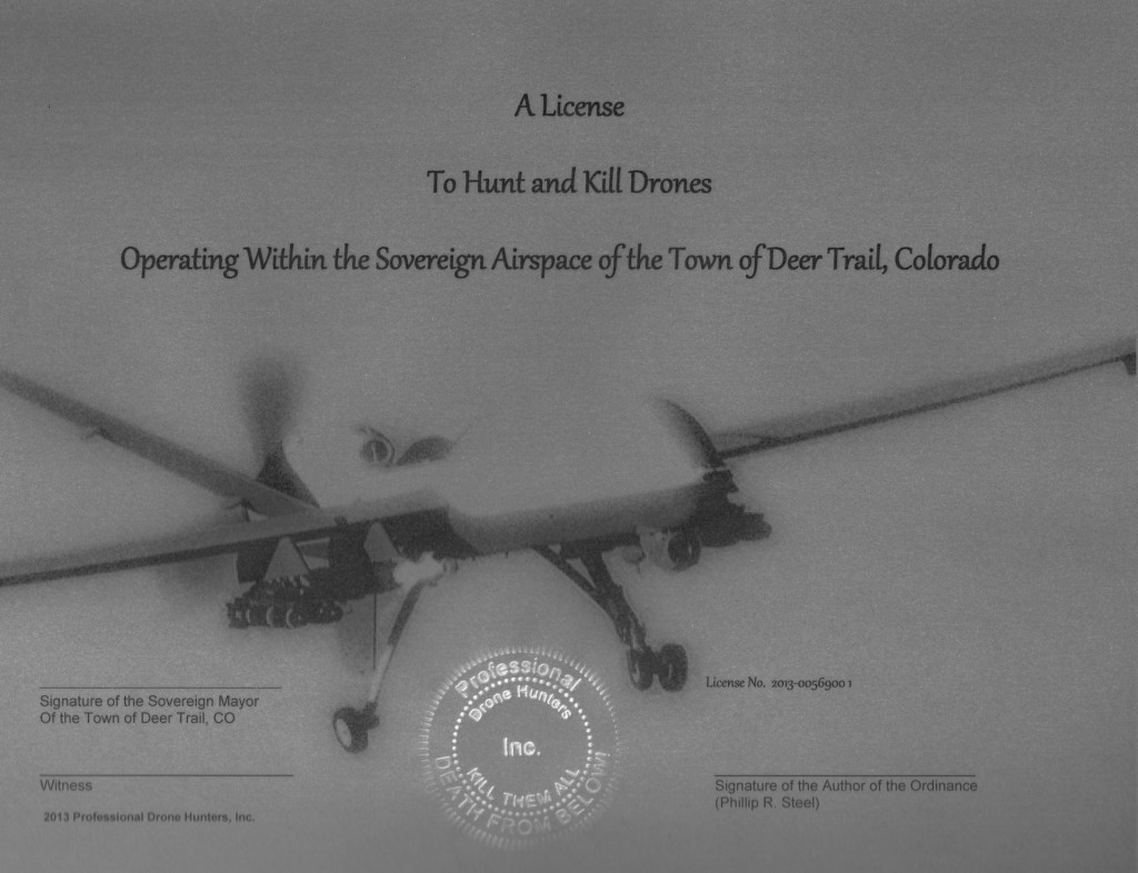 Deer Trail drone shooting license