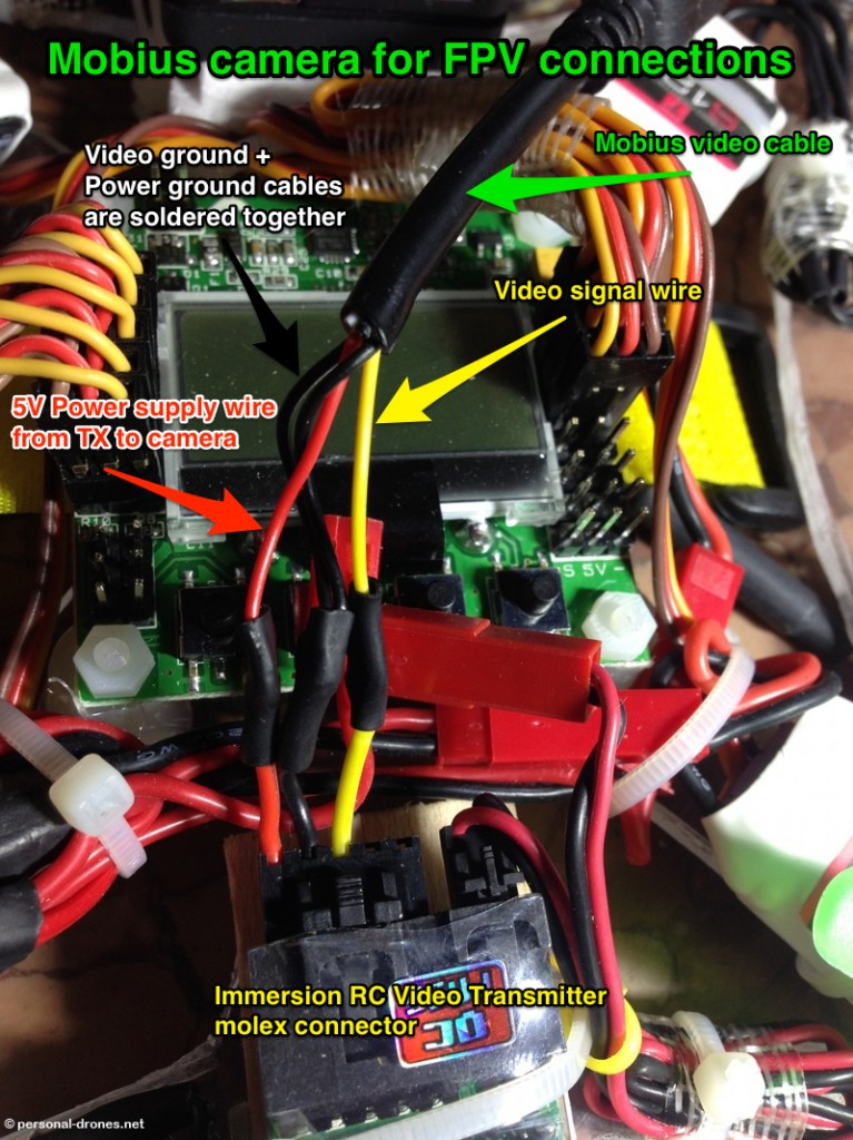 Another example of setup for the mobius camera for FPV in which the wires were soldered directly and the power wires were connected in addition to the video wires
