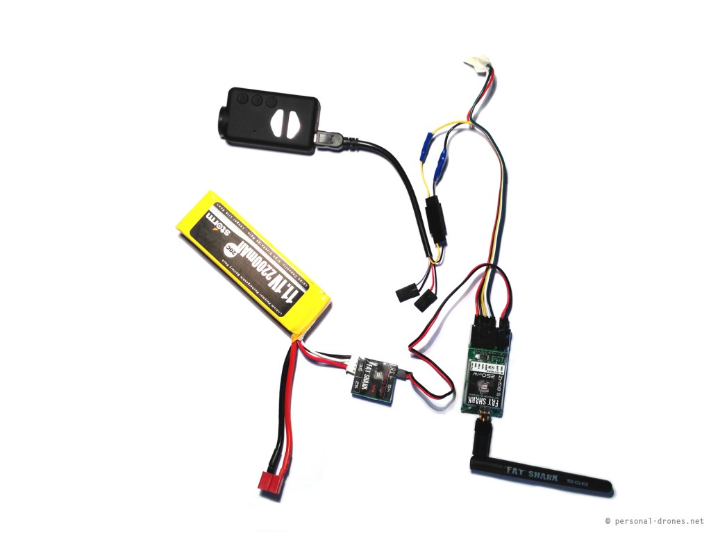 Mobius camera connected to the FatShark 250mW video transmitter, custom setup