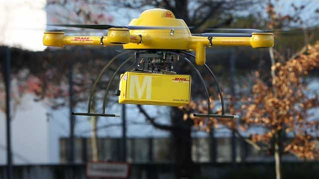 DHL quadcopter for the new drone delivery service - source