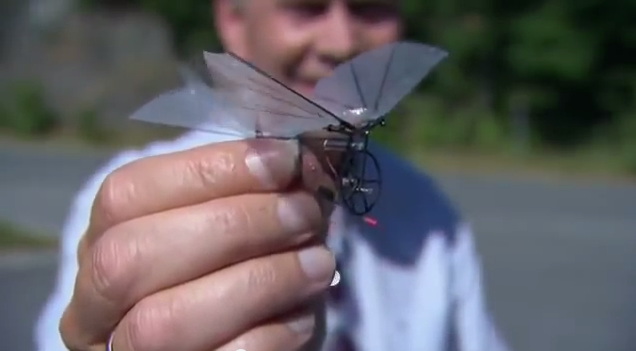 Petter Murren And An Early Prototype Insect Looking Small Flying Machine