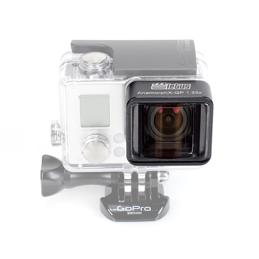 The AnamorphX adaptor for anamorphic video with the GoPro camera replaces the default adaptor on the Hero3+ case - Source