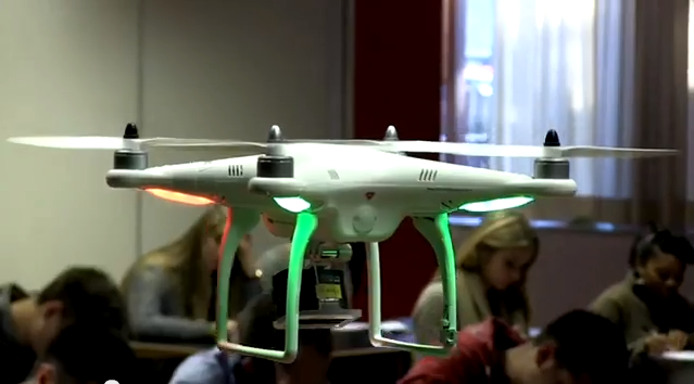 DJI Phantom quadcopter used to monitor students during exams in the Thomas Moore college in Belgium