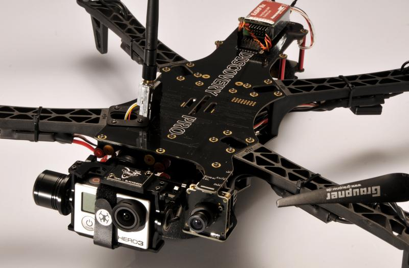 A TBS Discovery quadcopter with a board camera for FPV and a GoPro for video footage -  Source