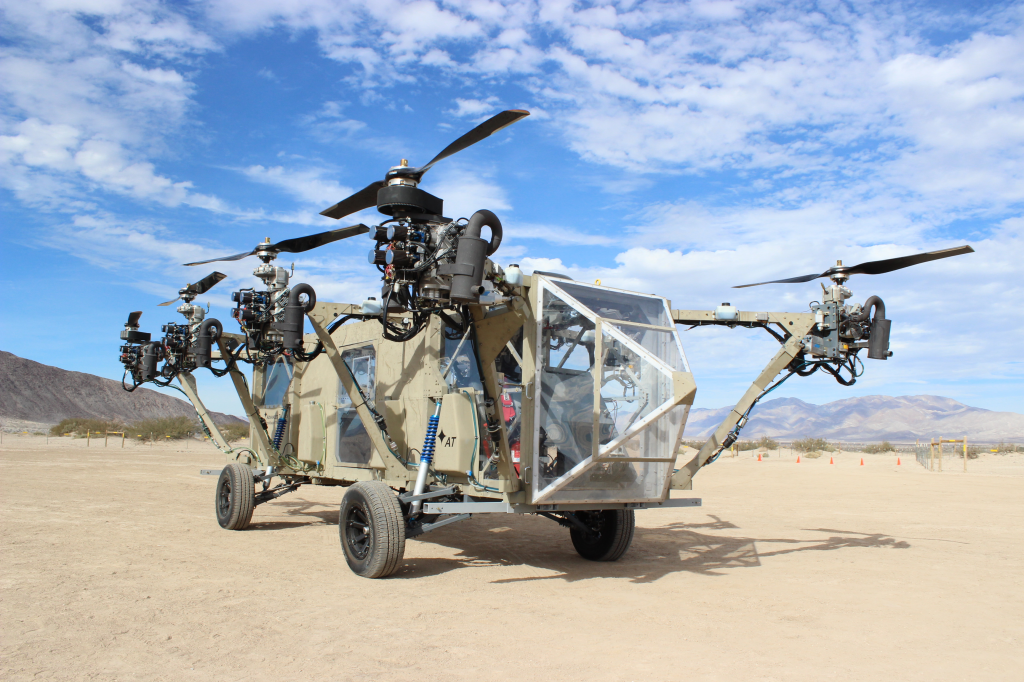 The AT Black Knight Transformer, the world's first roadable VTOL aircraft. It is designed to be a low-cost rapid response ambulance to evacuate wounded soldiers from the battlefield or transport cargo.