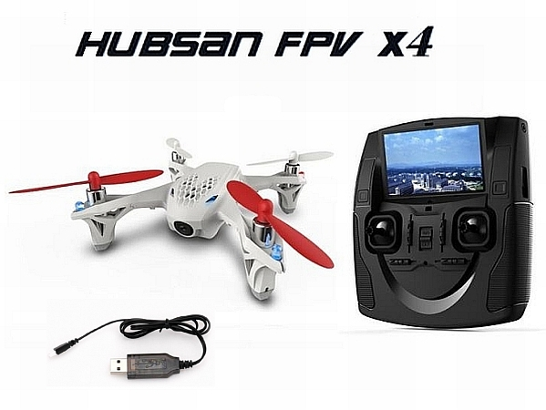 The Hubsan H107D FPV quadcopter with it's radio
