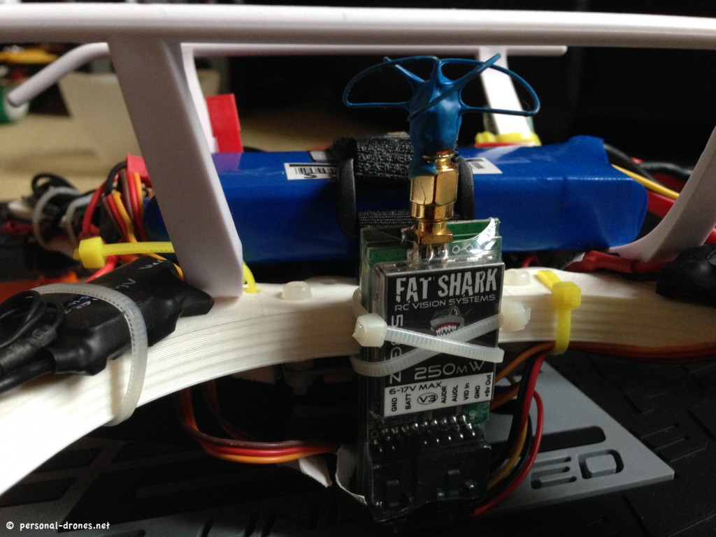 The 5.8 GHz FatShark video transmitter with polarized antenna