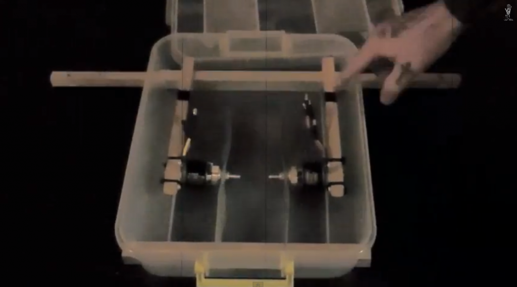 BoxCopter, partly folded inside the body box for portability