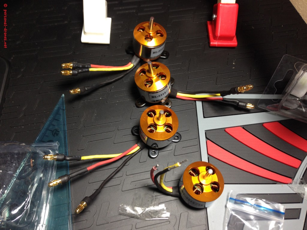 Suppo motors 1100 KV, soldering of 3.5 mm gold bullet connectors in progress