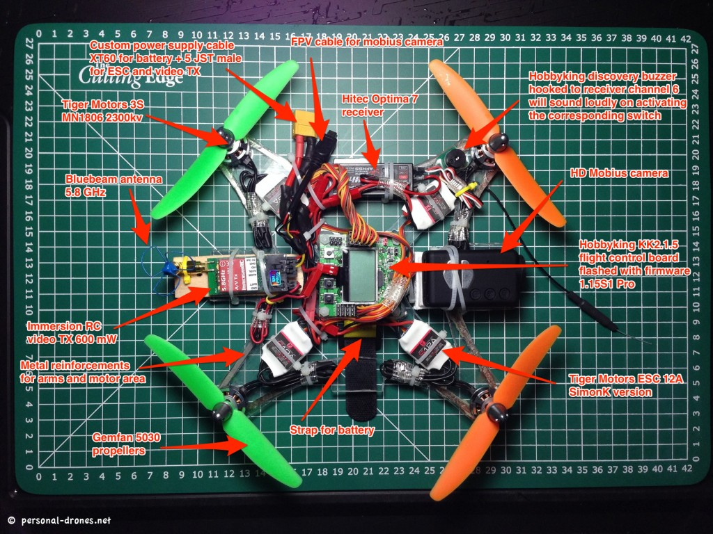 A summary of the plexiglas mini quadcopter for FPV build