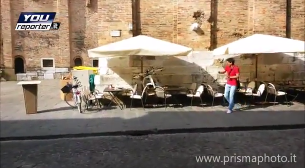 A moment of the multirotor crash in Treviso, Italy