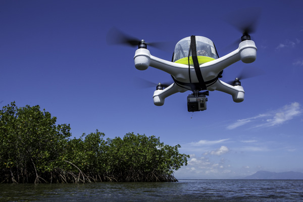 "The ""Henri"" quadcopter drone flies over a red mangrove forest. Photo: © Tim Calver"
