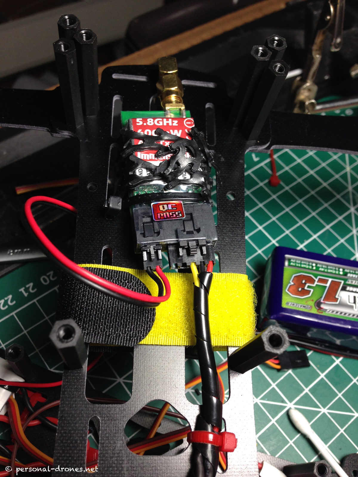 Detail of the ImmersionRC video transmitter wiring