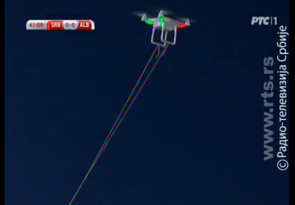DJI Phantom hovers in stadium during Serbia Albania football game